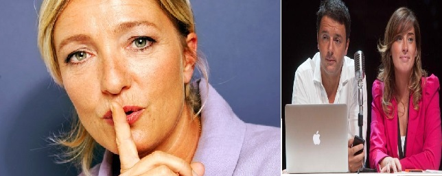 Marine le Pen- Matteo renzi- Maria Elena boschi