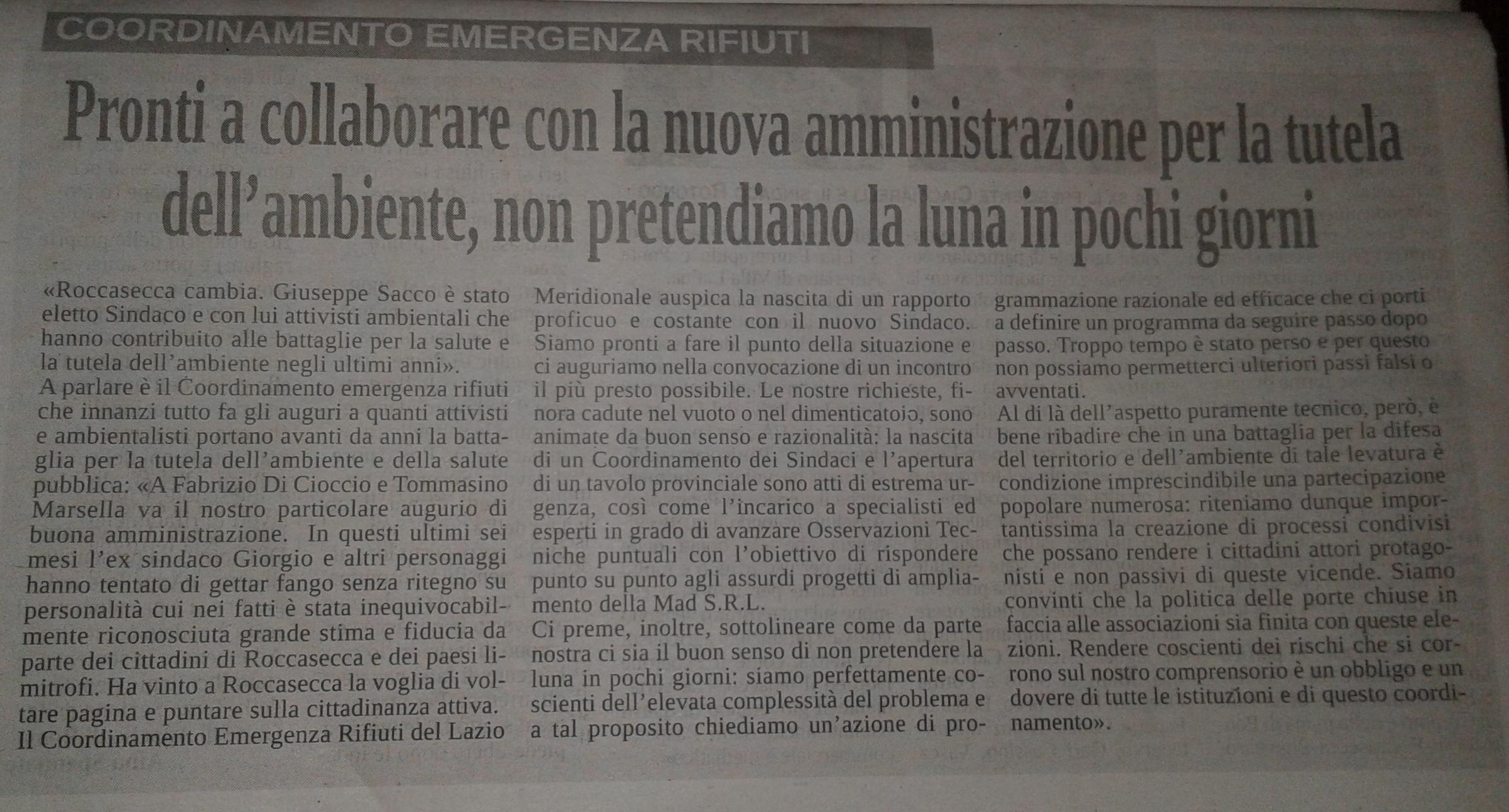 Coordinamento Emergenza Rifiuti Basso Lazio